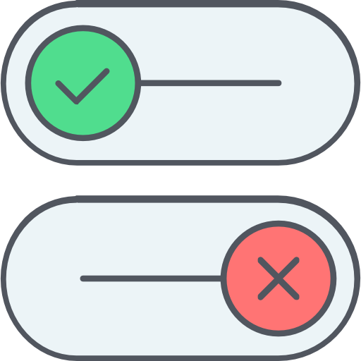 two stylish checkboxes, one with a green tick and the other with red x
